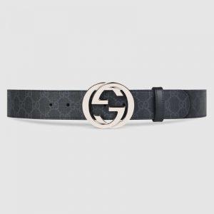 Gucci Unisex GG Supreme Belt with G Buckle in BlackGrey GG Supreme Canvas