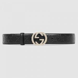 Gucci Unisex Gucci Signature Leather Belt-Black