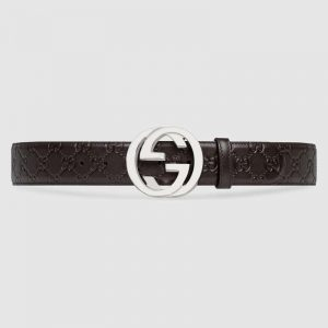 Gucci Unisex Gucci Signature Leather Belt with Interlocking G Buckle-Brown