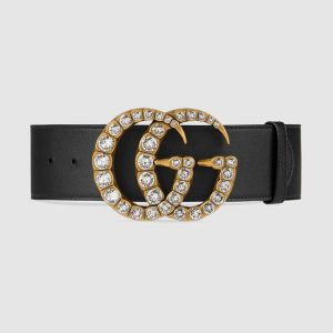 Gucci Unisex Leather Belt with Crystal Double G Buckle-Black