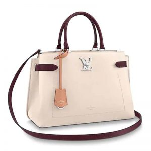 Louis Vuitton LV Women Lockme Day Tote Bag in Grained Calf Leather-Beige