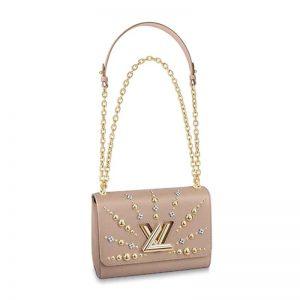 Louis Vuitton LV Women Twist MM Chain Bag in Epi Leather-Sandy