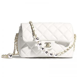 Chanel Women Small Flap Bag Lambskin Imitation Pearls & Gold-Tone Metal-White