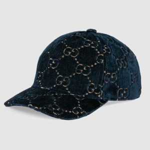 Gucci Unisex GG Velvet Baseball Cap Hat Blue Beige GG