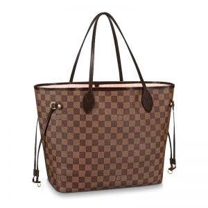 Louis Vuitton Women LV Neverfull MM in Damier Ebène Canvas