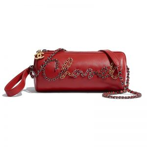 Chanel Women Bowling Bag in Calfskin Gold Silver Tone Metal-Red