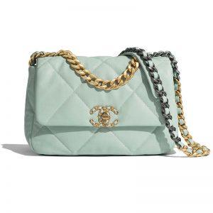Chanel Women Chanel 19 Flap Bag in Lambskin Leather-Blue