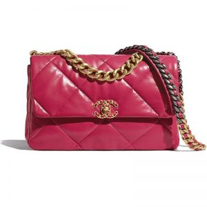 Chanel Women Chanel 19 Large Flap Bag Lambskin Leather-Rose