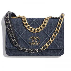 Chanel Women Chanel 19 Wallet On Chain Denim Blue