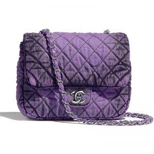 Chanel Women Chanel Small Flap Bag in Denim Fabrics-Purple