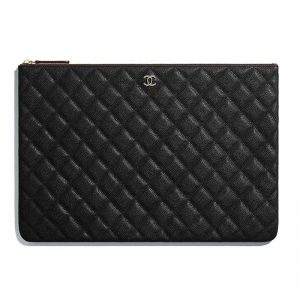 Chanel Women Classic Large Pouch in Grained Calfskin Leather-Black