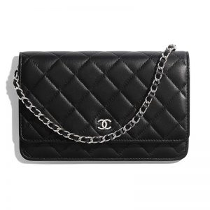 Chanel Women Classic Wallet On Chain in Lambskin Leather-Black
