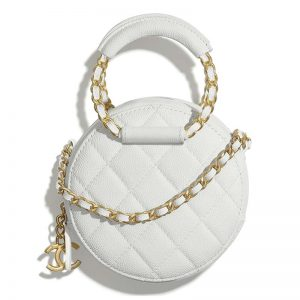 Chanel Women Clutch with Chain Grained Shiny Calfskin-White