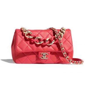 Chanel Women Flap Bag Lambskin Resin & Gold-Tone Metal-Red