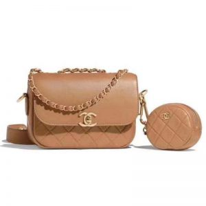 Chanel Women Flap Bag and Coin Purse Calfskin Leather-Brown