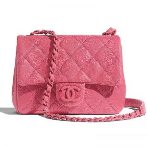 Chanel Women Flap Bag in Grained Calfskin Leather-Pink