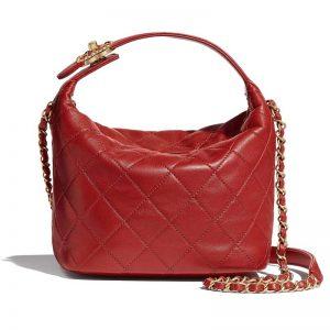 Chanel Women Hobo Bag in Lambskin Leather Gold Metal-Red