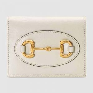 Gucci GG Unisex Gucci 1955 Horsebit Card Case Wallet Leather-White