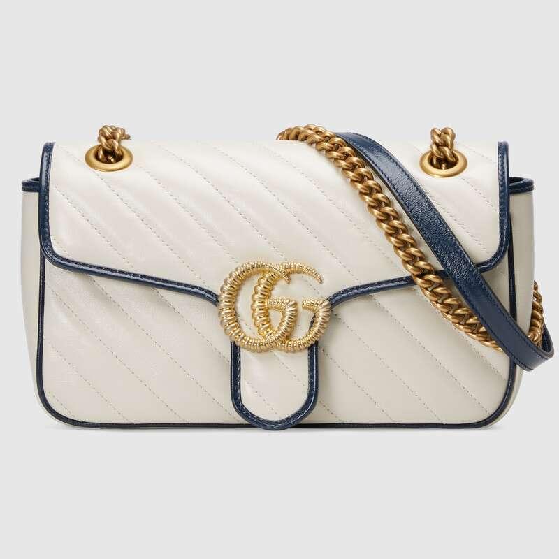 Gucci Leather Gg Marmont Matelassé Small Chain Shoulder
