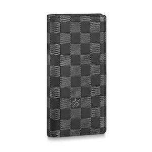 Louis Vuitton LV Unisex Brazza Wallet Damier Infini Onyx Silver Leather