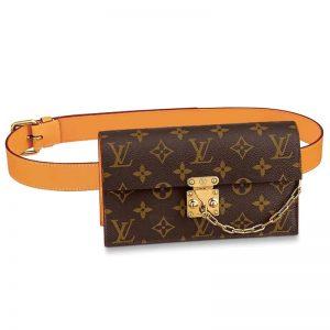 Louis Vuitton LV Unisex S Lock Belt Pouch GM PM MM-Brown