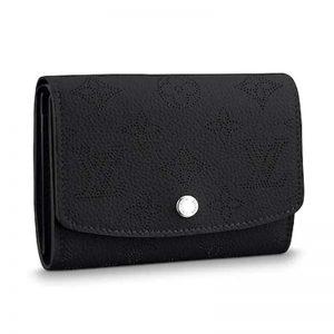 Louis Vuitton LV Women Iris Compact Wallet Mahina Perforated Calf Leather-Black