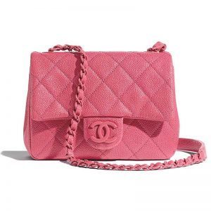 Chanel Women Flap Bag Grained Calfskin & Lacquered Metal-Rose