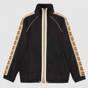 Gucci GG Men Oversize Technical Jersey Jacket Interlocking G-Black
