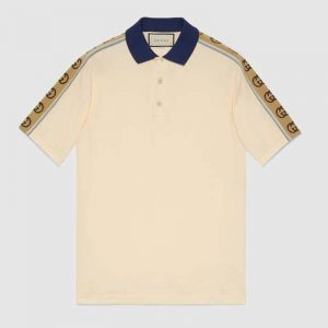 Gucci GG Men Polo with Interlocking G Stripe White Cotton