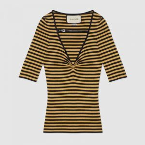 Gucci GG Women Fine Viscose V-Neck Short Sleeve Top-Yellow