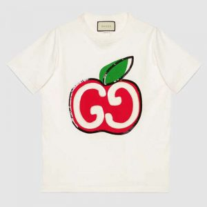 Gucci GG Women T-Shirt with GG Apple Print-White