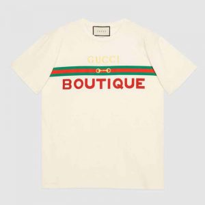 Gucci GG Women's Gucci Boutique Print T-Shirt-White