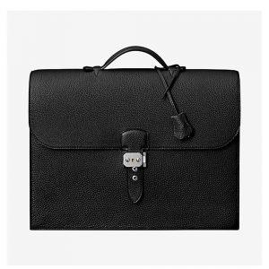 Hermes Men Sac A Depeches 38 Briefcase-Black