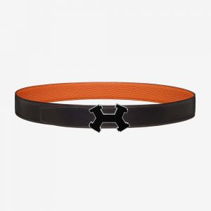 Hermes Men Street H Belt Buckle & Reversible Leather Strap 32 mm-Orange