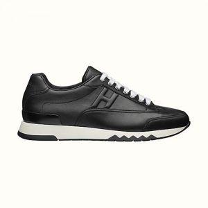 Hermes Men Trail Sneaker in Calfskin-Black