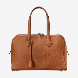 Hermes Victoria II Fourre-Tout 35 Bag in Clemence Leather-Brown