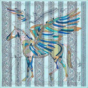 Hermes Women La Maison Des Carres Pegase Dhermes AU Bloc Scarf-Aqua