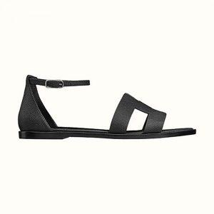 Hermes Women Santorini Sandal in Epsom Calfskin-Black