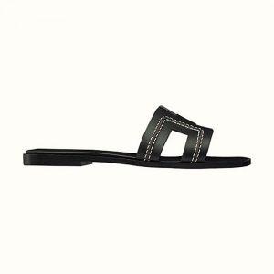 "Hermes Women Oran Sandal Calfskin Stitched Detail Iconic ""H""-Black"