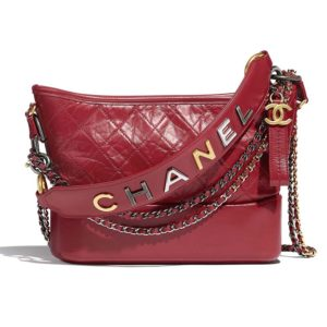 Chanel Women Chanel's Gabrielle Hobo Bag Aged Smooth Calfskin-Red