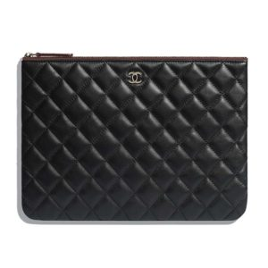 Chanel Women Classic Pouch Lambskin & Gold-Tone Metal-Black