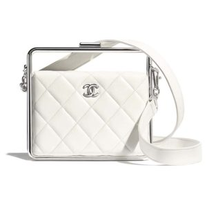 Chanel Women Clutch Lambskin & Silver-Tone Metal-White