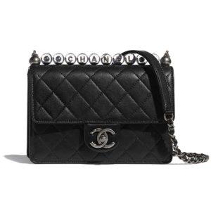 Chanel Women Flap Bag Goatskin Acrylic Beads & Ruthenium-Finish Metal