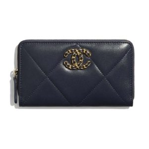 Chanel Women Chanel 19 Zipped Wallet in Lambskin Leather-Navy
