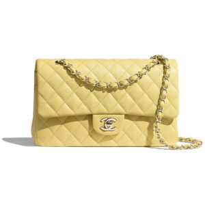 Chanel Women Classic Handbag in Grained Calfskin Leather-Yellow