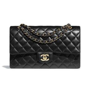 Chanel Women Classic Handbag in Lambskin Leather-Black