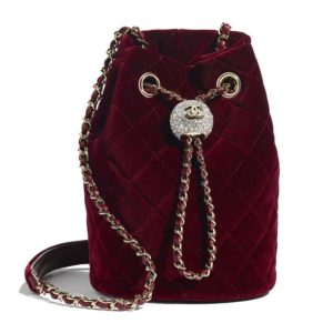 Chanel Women Drawstring Bag Velvet Strass & Silver-Tone Metal-Maroon