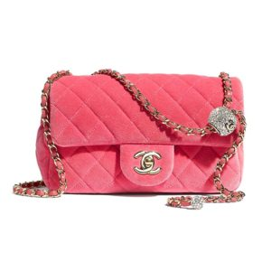 Chanel Women Flap Bag Velvet Strass & Silver-Tone Metal-Rose