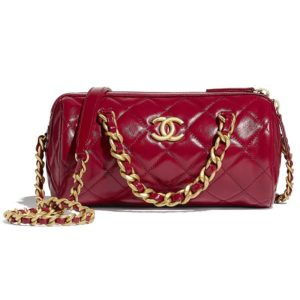 Chanel Women Small Bowling Bag Shiny Lambskin & Gold-Tone Metal-Red