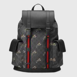 Gucci GG Unisex Gucci Bestiary Backpack Tigers GG Supreme-Black
